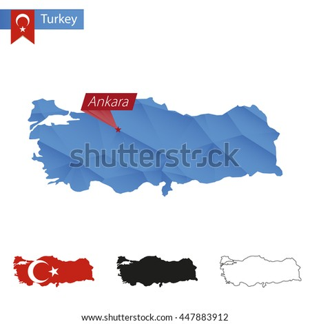 Turkey blue Low Poly map with capital Ankara, versions with flag, black and outline. Vector Illustration. - stock vector
