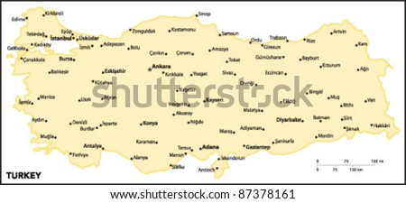 Turkey Country Map Stock Vector (Royalty Free) 87378161 - Shutterstock