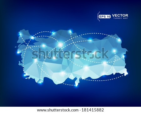 Turkey country map polygonal with spot lights places - stock vector