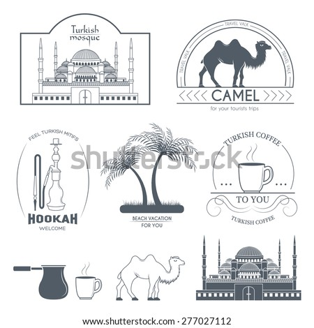 Turkey country set label. Template of emblem element for your product or design, web and mobile applications with text. Vector illustration with thin lines isolated icons on stamp symbol.  - stock vector