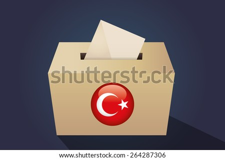 Turkey election ballot box for collecting votes, navy background - stock vector