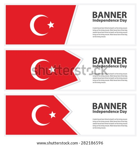 turkey Flag banners collection independence day - stock vector
