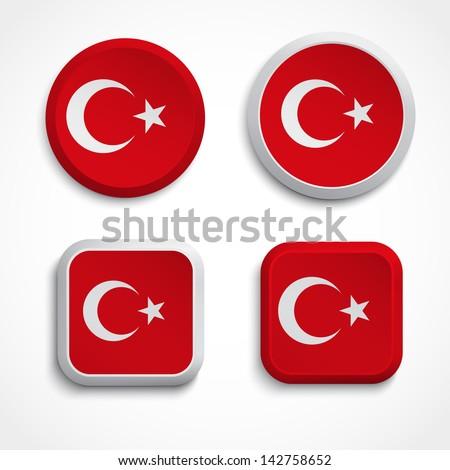 Turkey flag buttons, vector illustration - stock vector