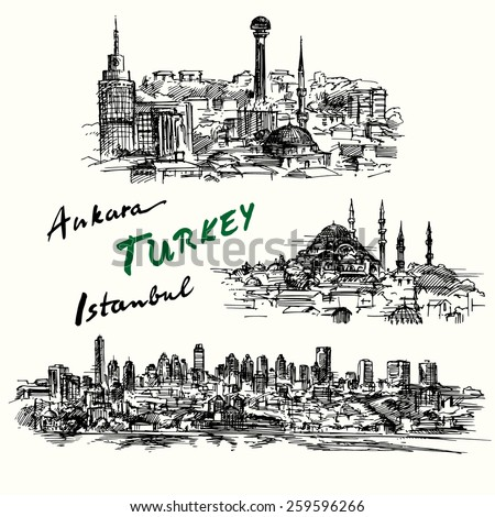 Turkey - hand drawn collection - stock vector