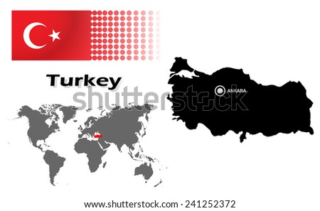 Turkey info graphic with flag , location in world map, Map and the capital ,Ankara, location.(EPS10 Separate part by part) - stock vector