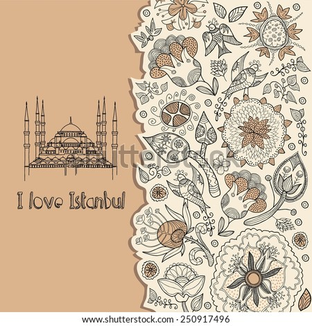 Turkey. Istanbul. Background. I love Istanbul  - stock vector