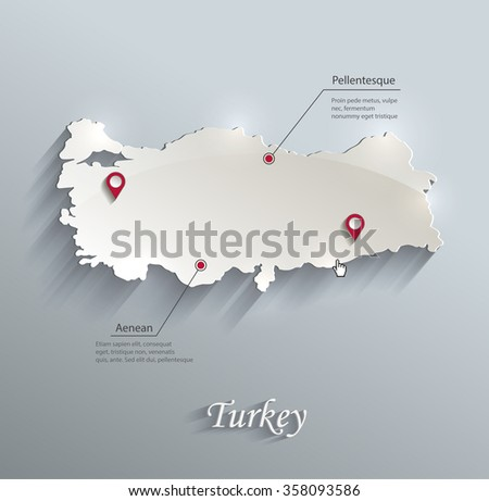 Turkey map blue white card paper 3D vector - stock vector