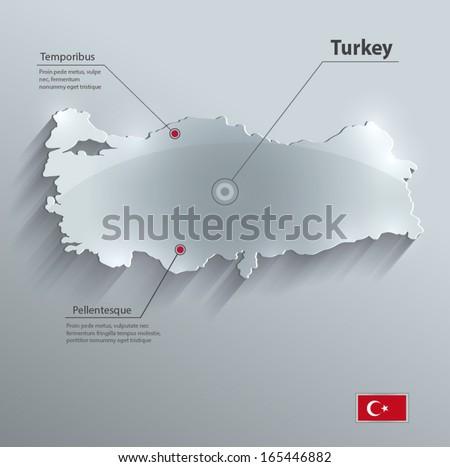 Turkey map glass card paper 3D vector flag - stock vector