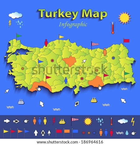 Turkey map infographic political map blue green card paper 3D vector individual states  - stock vector