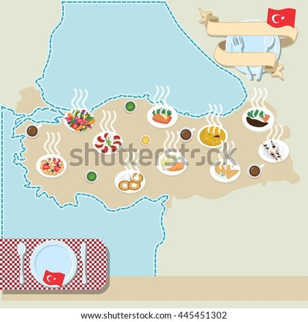 Turkey map poster with traditional turkish food
