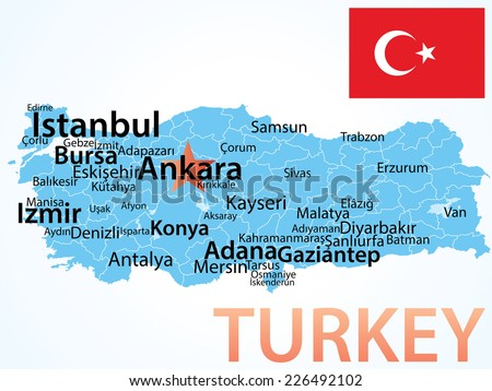 Turkey - map with largest cities, carefully scaled text by city population. - stock vector