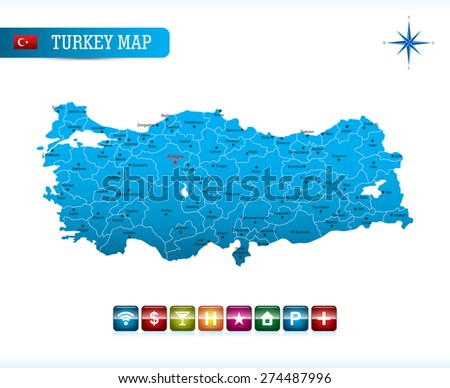 Turkey Map with Navigation Icons - stock vector