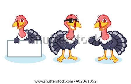Turkey Mascot happy, pose and bring board - stock vector