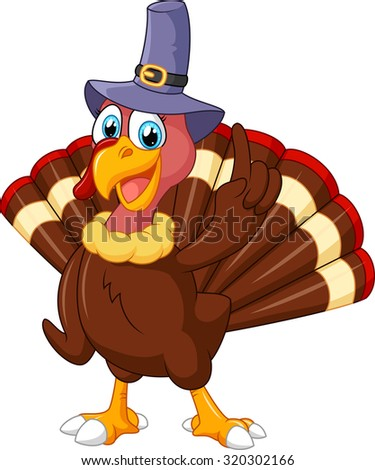 turkey mascot wearing purple hat and giving thumb up - stock vector