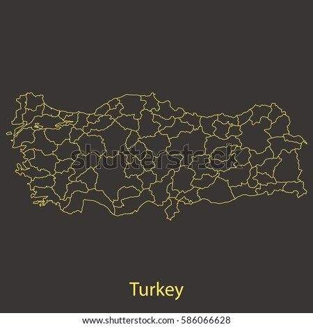 Turkey Outlinestroke Map Administrative Division Vector Stock Vector