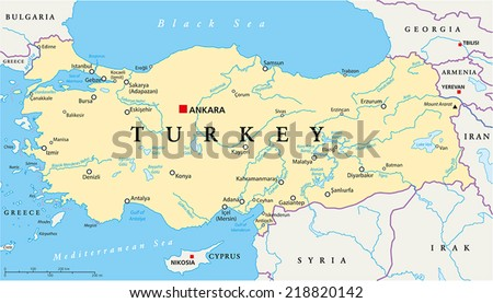 Turkey Political Map With Capital Ankara National Borders Most Important Cities Rivers And
