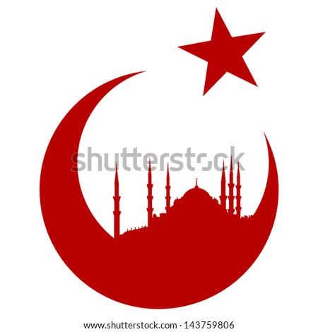 Turkey symbol with Blue mosque - stock vector