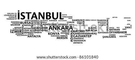 Turkey tag map, cities sorted by size - stock vector