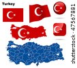 Turkey vector set. Detailed country shape with region borders, flags and icons isolated on white background. - stock photo