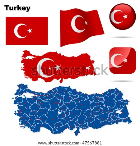 Turkey vector set. Detailed country shape with region borders, flags and icons isolated on white background. - stock vector