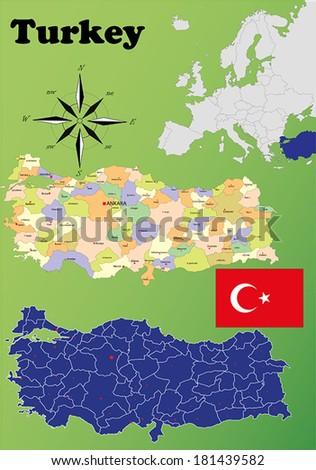 Turkey vector set. Isolated - stock vector