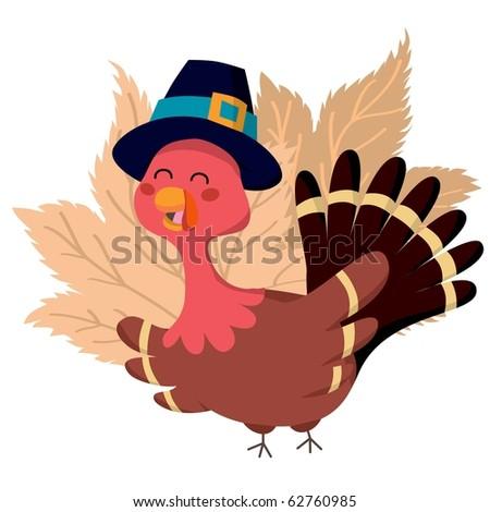 Turkey wearing a pilgrim hat for Thanksgiving celebration - stock vector