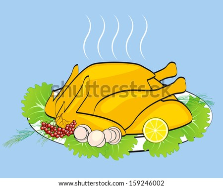 Turkey with salad, dill, mushrooms, lemon and ashberry  - stock vector