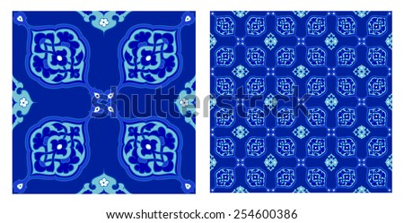 Turkish and Ottoman Empire's era traditional seamless ceramic tile, vector pattern