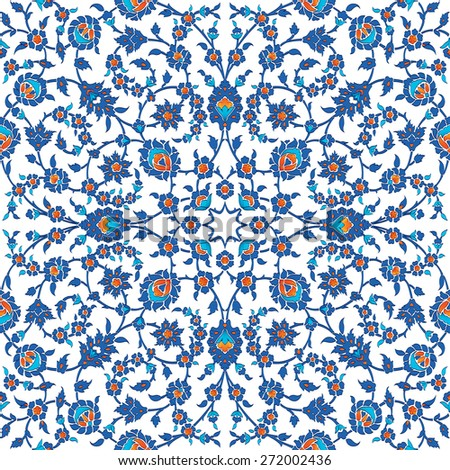 Turkish, Arabic, African, Islamic Ottoman Empire's era traditional seamless ceramic tile, vector floral pattern - stock vector