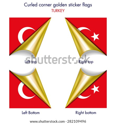 Turkish flag curled golden corner edition - stock vector