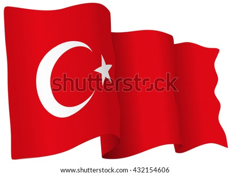 Turkish flag of Turkey isolated on white in vector format.
