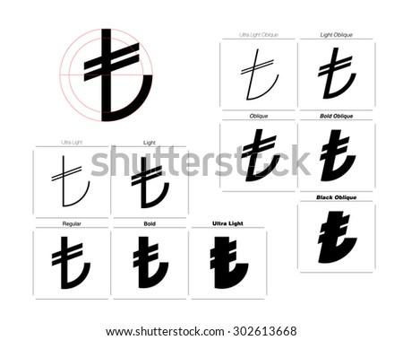 Turkish Lira Symbol Different Font Weights Stock Photo Photo