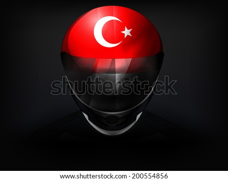 Turkish racer with flag on helmet vector closeup illustration - stock vector