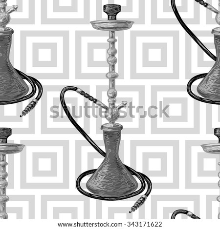Turkish seamless pattern with fez, mustache and hookah. Tiled background oriental ornament vector illustration perfect for wallpaper, pattern fill, web page, surface texture, textile - stock vector