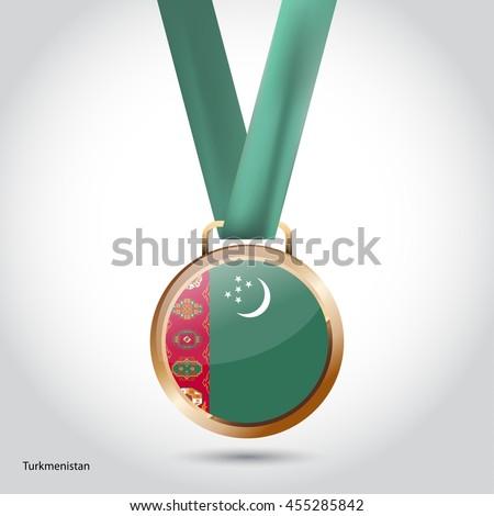 Turkmenistan Flag in Bronze Medal. Vector Illustration - stock vector