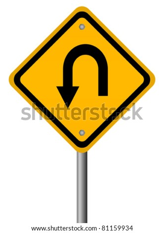 Turn back road sign, vector illustration - stock vector