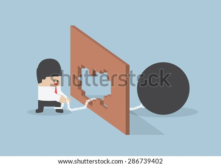 Turn crisis into opportunity, Businessman use metal ball with chain destroy the wall - stock vector