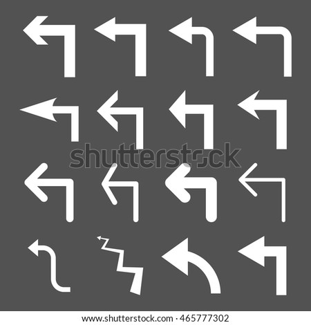 Turn Left vector icon set. Collection style is white flat symbols on a gray background.
