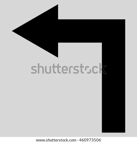 Turn Left vector icon. Style is flat icon symbol, black color, light gray background.