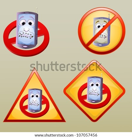 turn of the hand phone symbol in various style, isolated on light brown - stock vector