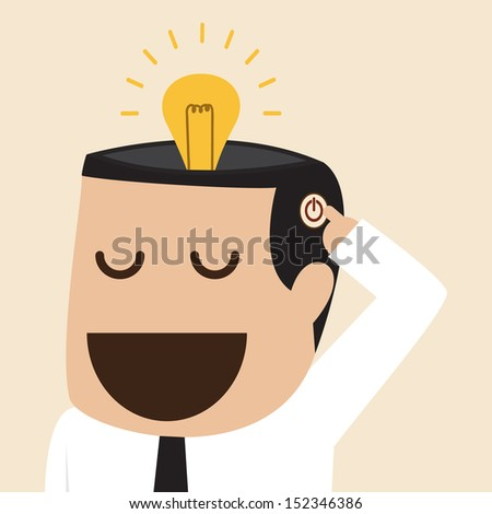 Turn on lightbulb idea - stock vector