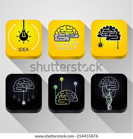 Turn on the brain. Concept of idea. - stock vector