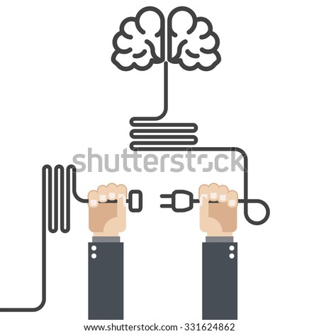 Turn on your brain - hands with plug and cord - stock vector