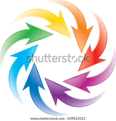turning colorful arrows - stock vector