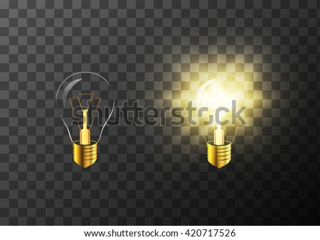 Turning on and off realistic light bulb on transparent background - stock vector