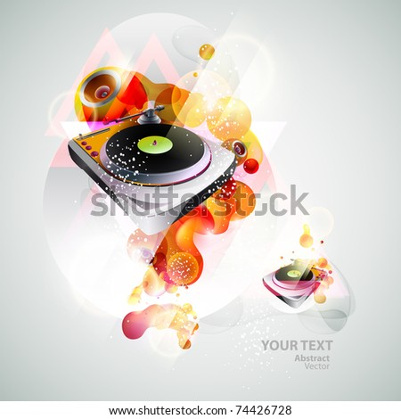 Turntable & loudspeakers - stock vector
