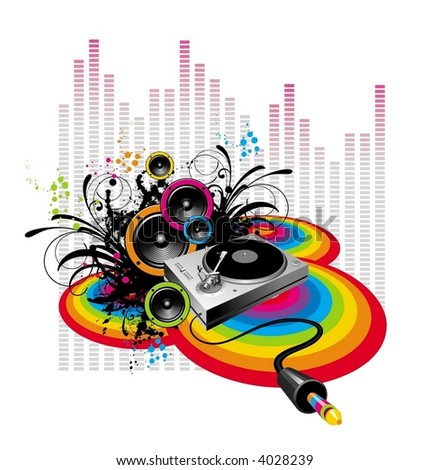 Turntable & loudspeakers on grunge-rainbow background - stock vector