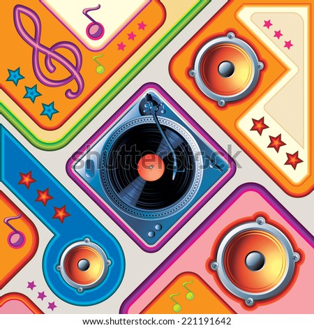 Turntable & speakers on bright retro background - stock vector