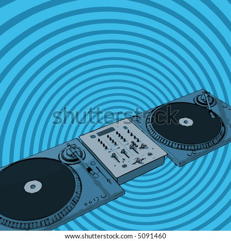 turntables & audio mixing console with retro background (vector format)