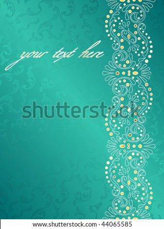 Turquoise background with a delicate swirly margin (EPS10); JPG version also available - stock vector